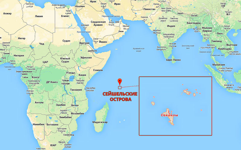 сейшельских островах на карте
