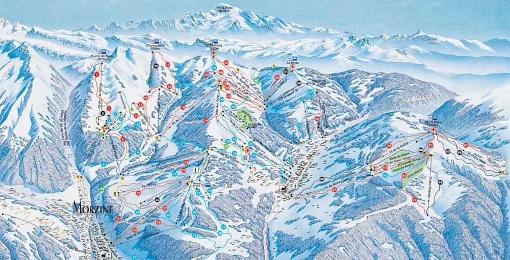 Морзин, горнолыжный курорт, Франция, карта, схема трасс