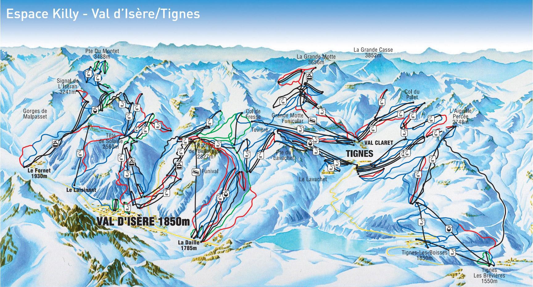 """Валь-д'Изер, Франция, горнолыжный курорт, карта, трасса """"Беллевар"""", поселок Тинь"""