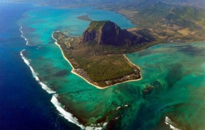 Маврикий, остров, вид сверху, оптическая иллюзия