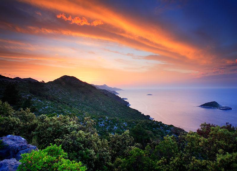 Хорватия, остров Мльет, закат, Адриатическое море