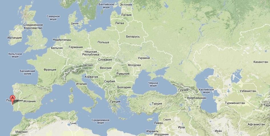 Португалия, Атлантический океан, карта, месторосположение