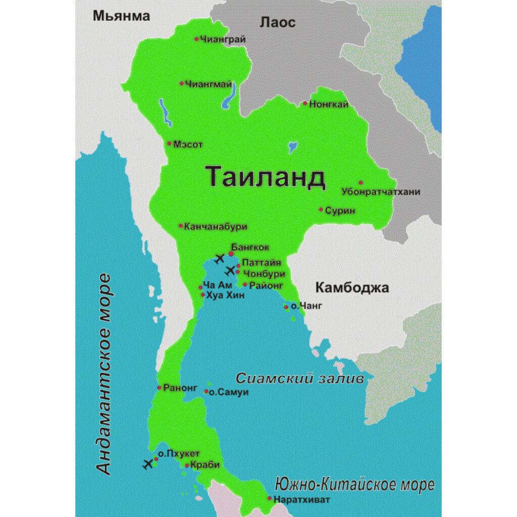 Карта морей тайланда