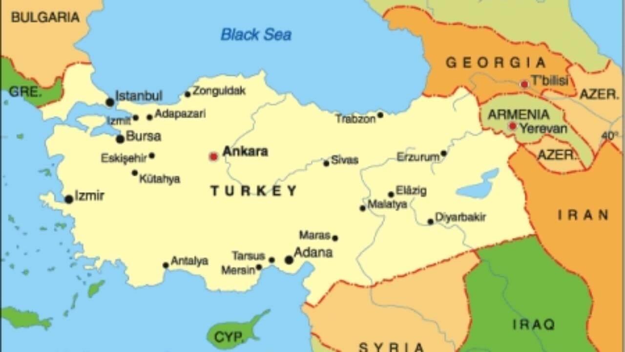 Турция, географическое положение Турции, страны - соседи Турции, моря Турции