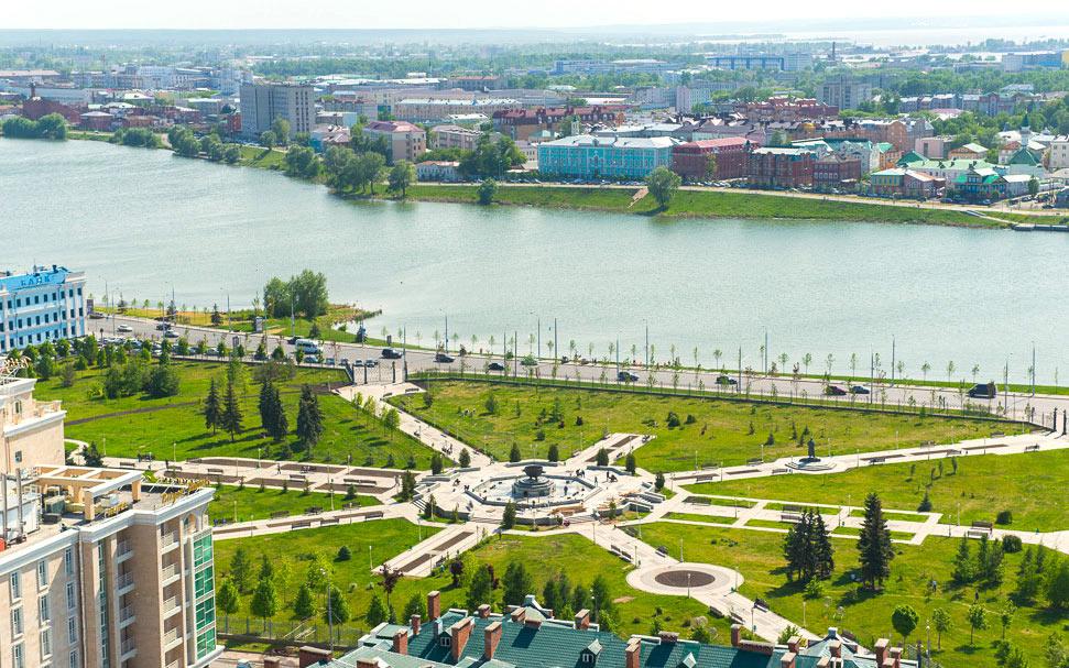 Казань, Россия, Республика Татарстан, достопримечательности, парк тысячелетия и озеро Нижний Кабан