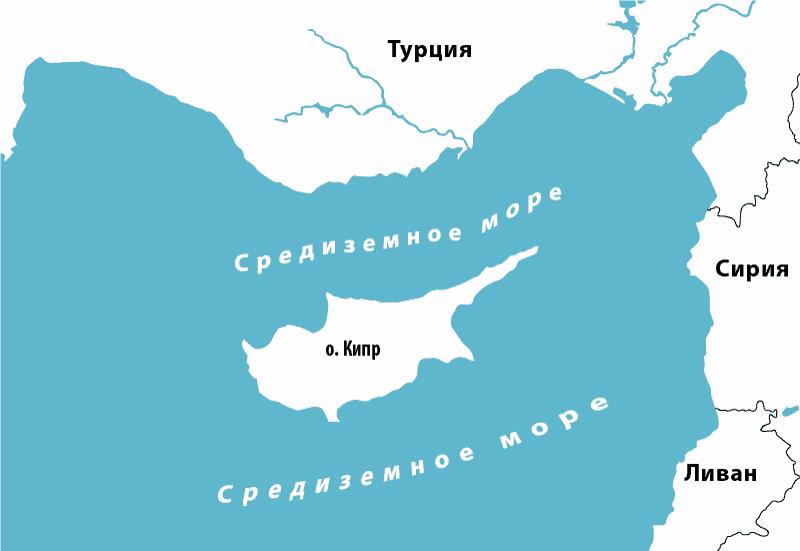 Какое море на Кипре на карте