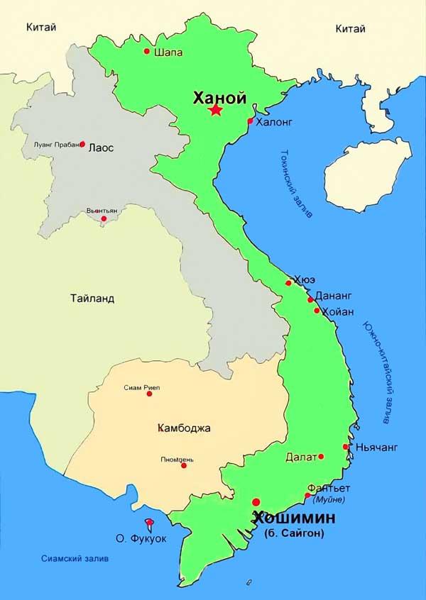 Карта курортов Вьетнама и морей Вьетнама